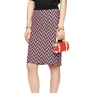 Kate Spade Stretch Knit Geo-Print Pencil Skirt